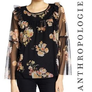 Anthro Pleione Floral Bell Sleeve Ruffle Blouse